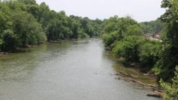Chattahoochee River looking south from Highway 78 toward the site of the South Cobb Water Reclamation Facility repair