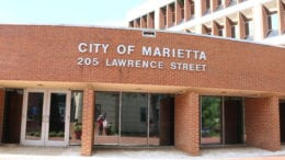 Marietta recruiting firefighter illustrated by photo of Marietta City Hall