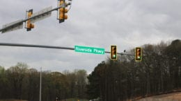 Riverside Parkway road sign in article about homicde suicide at EpiCenter