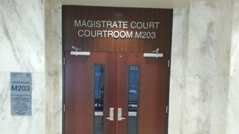 Doorway to courtroom in Cobb County Magistrate Court in article about rental assistance