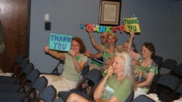 Cobb park advocates celebrating vote to buy Tritt property (photo by Larry Felton Johnson)