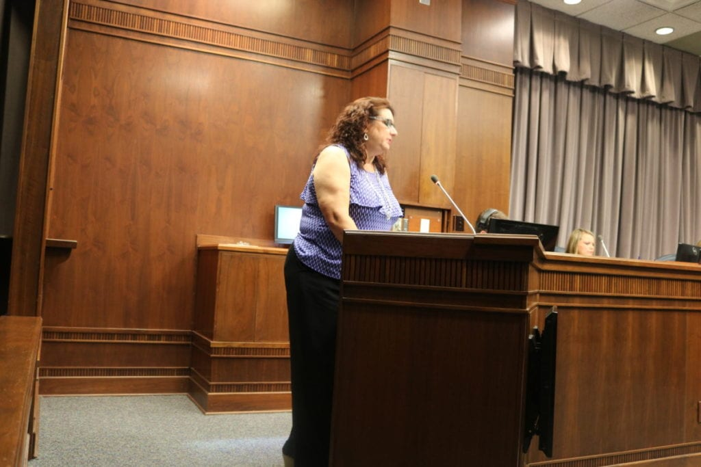 Shelley Callico from West Cobb speaks in favor of the millage rate increase (photo by Larry Felton Johnson)