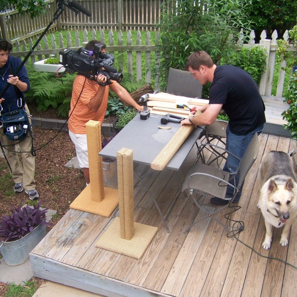Ingrid Johnson's husband Jake was filmed for Animal Planet while working on customized cat scratching posts.