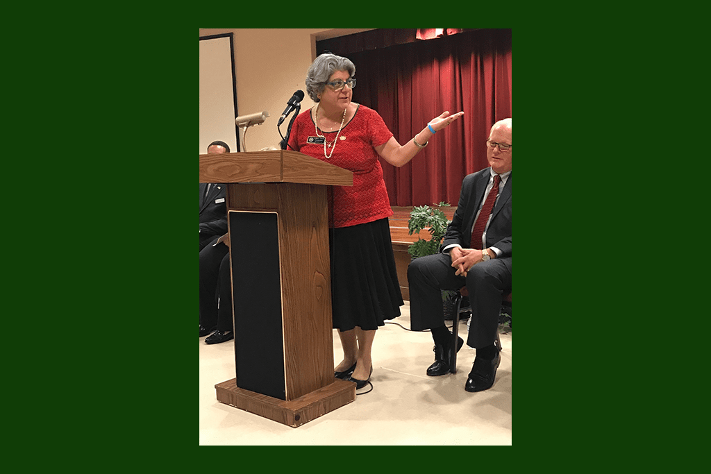 JoAnn Birrell discussed her revitalization efforts in her district. (photo by Rebecca Gaunt)