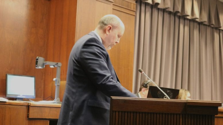 Assistant Cobb County Attorney William Rowling talks about proposed changes to the appointment of ethics board members (photo by Larry Felton Johnson)