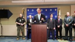 Acting Cobb District Attorney John Melvin at 1831 Piru Bloods indictment press conference (photo by Larry Felton Johnson)