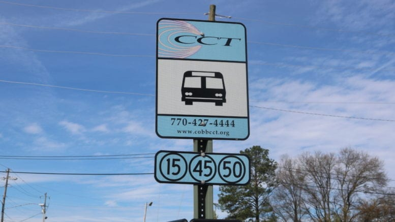 CobbLinc bus stop sign in article about Cobb Comprehensive Transportation Plan