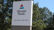 Georgia Power sign at Plant McDonough-Atkinson in Cobb County accompanying article about restory power