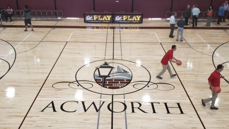 One of the basketball courts in the new Acworth Recreation and Community Center (photo by Alex Patton)