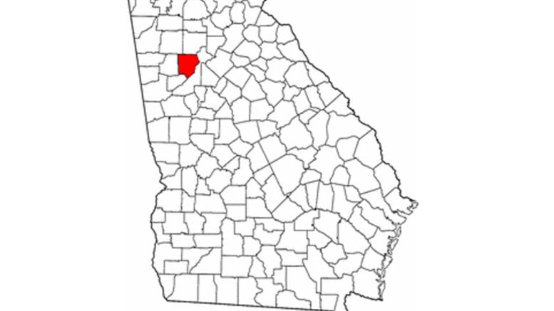 Cobb County highlighted on Georgia map (public domain, from the General Libraries, The University of Texas at Austin, modified to show counties.