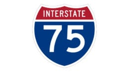 Image of I-75 road sign in article about Barrett Parkway bridge lane closures