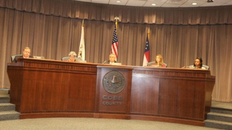 Photo of the BOC from the February 2019 meeting accompanying a letter to the editor about the compensation plan for Cobb 911 dispatchers