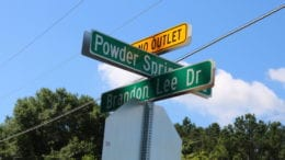 Powder Springs Road and Brandon Lee Drive intersection road sign