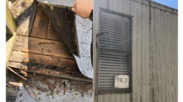 Left: deteriorating steps on Eastvalley Elementary School trailer, Right: exterior shot of trailer siding (photos by Ellen Sauve, used with permission)
