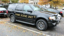Cobb County Police Department Crime Scene Unit vehicle in article about homicide Mableton Parkway