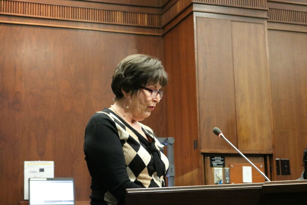 Linda Bowman argues against rezoning for mixed-use development on Chastain Road