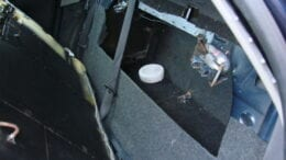 A hidden compartment in a Chevy Impala used for smuggling drugs