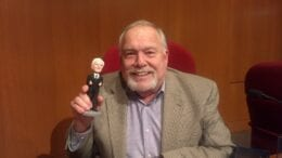 Mayor Max Bacon with the bobblehead modeled on him