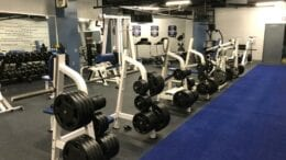 New exercise room at the Marietta Police Department, weight machines lining the walls