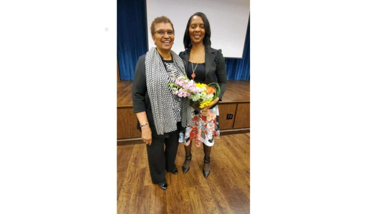 June Van Brackle, president of the Senior Citizen Counicl of Cobb County, with Cobb Distrct Attorney Joyette Holmes