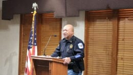 Major (now Sheriff) Craig Owens speaking at South Cobb Business Associations luncheon used in article about Owens statement on attacks on Asian-Americans