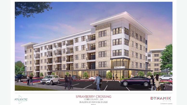Sprayberry town hall Screenshot of rendering of apartment block in article about Sprayberry ROD