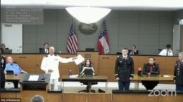 Mayor Derek Easterling led the commissioning ceremony for 2nd Lt. James A. Drobney at Monday's meeting.