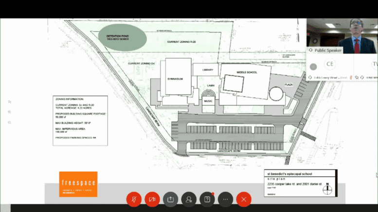 Screen shot of plan for St. Benedict's School rezoning request