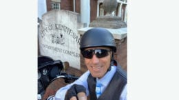 Ciy Hall Selfie Day image of a man in a helmet in front of Kennesaw City Hall