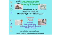 Kids Care sneaker book donation flyer with text available in artice
