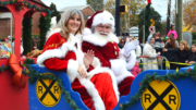 Kennesaw parade ... woman in sleigh with Santa
