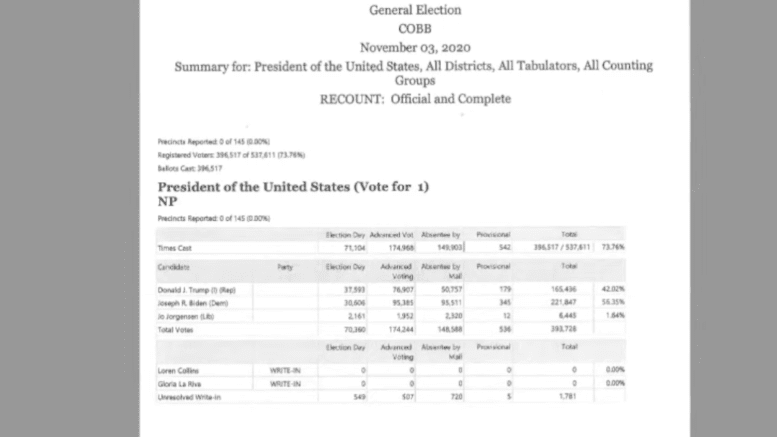 screenshot of recount results