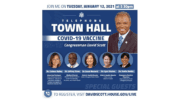 Flyer for David Scott COVID-19 vaccine town hall