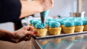 Kennesaw cupcake decorating as a person applies icing to a row of cupcakes