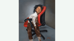 A painting of a Black child asleep on a rolling office chair