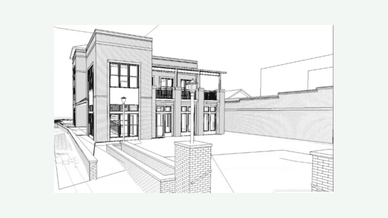 Renderings of restored Whistle Stop building and the plaza with Dry County Taproom on the right.