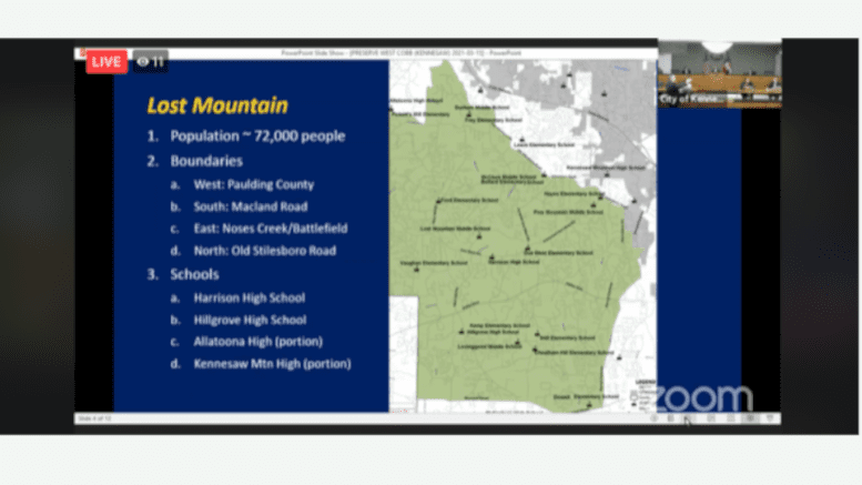 Rep. Ed Setzler discussed the proposed boundaries of the city of Lost Mountain during his presentation to the Kennesaw City Council.