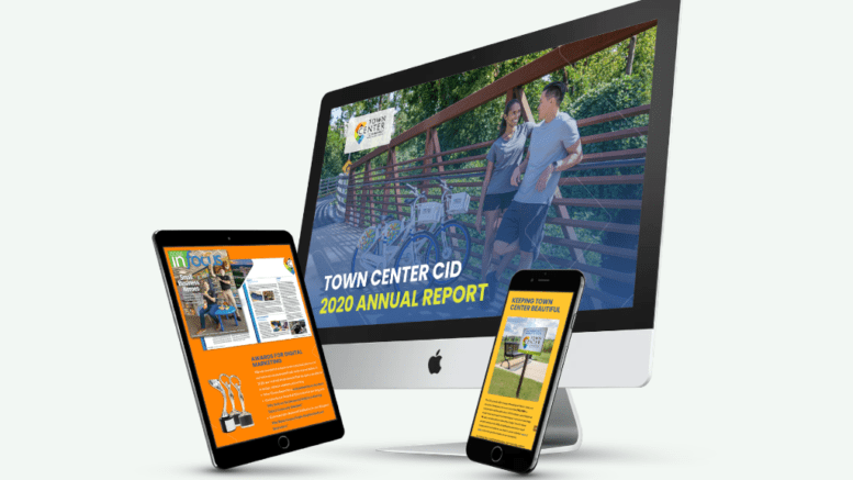 Town Center CID releases its annual report -- image of report on desktop computer screen, tablet, and smart phone