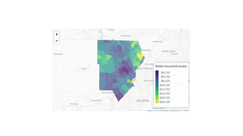 screenshot of interactive map of Cobb County with incomes by census tract color coded (text tables of data available in article)