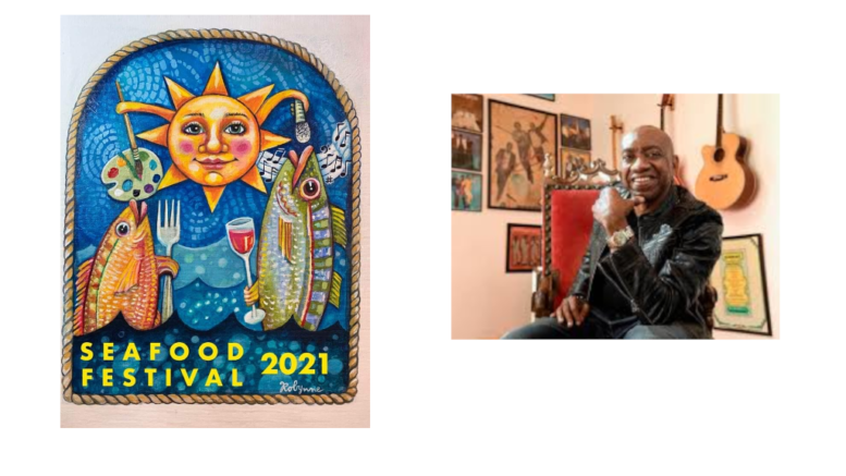 Logo for the Powder Springs festival with sun and fish, along with a photo of Otis Redding the third
