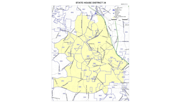 Map of Georgia House District 34 taken from the Cobb County website