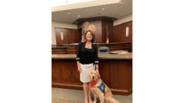 Judge Mary Staley Clark with Hope the Comfort Dog (photo courtesy of Cobb County Superior Court)