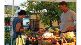 A man and woman looking over vegetables at the Kennesaw Farmers Market