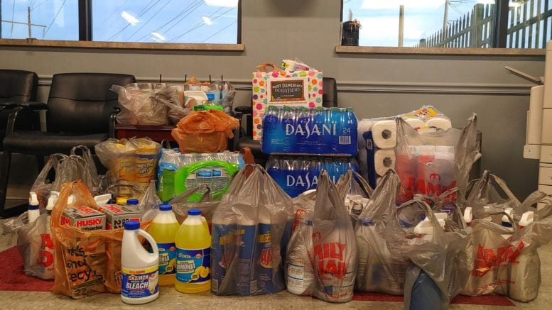 various household supplies for tornado relief assembled by employees at Plant McDonough