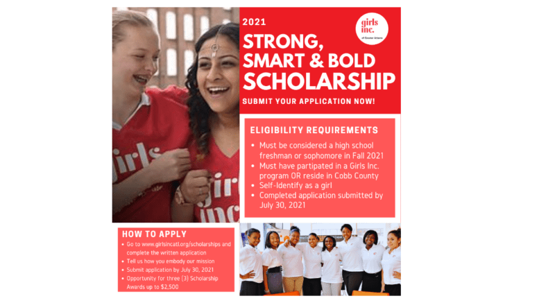 flyer for Girls Inc. scholarship as described in the article