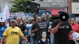 Rally to mark the one-year anniversary of the shooting death of Vincent Truitt by a Cobb County police officer