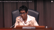 Screenshot of District 4 Commissioner Monique Sheffield speaking at the BOC zoning meeting