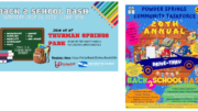 flyers for the two back-to-school bashes described in the text of the article