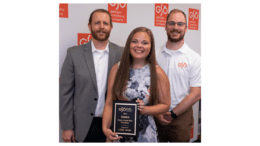 (Left – right) Georgia Symphony Orchestra Music Director Timothy Verville; Lainie Ewers, GSO Virtual to Center Stage competition winner; and Taylor Rambo, GSO executive director.