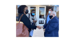 Board members Charisse Davis and Tre' Hutchins and state Rep. Mike Wilensky spoke with Holocaust survivor Herschel Greenblat before the meeting (photo by Rebecca Gaunt)